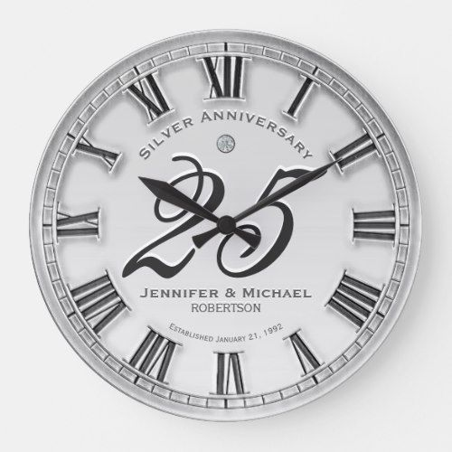 25th Silver Wedding Anniversary Large Clock Zazzle Com Silver Wedding Anniversary Silver Wedding Anniversary Decorations Silver Wedding