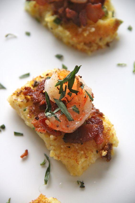 Housewarming Brunch Inspiration: Shrimp and Grits Squares made with polenta