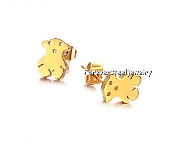 Lot 5Pair Earring Stainless Steel 18K Gold Shing Qute Bear Earring Stud Charm #Charm