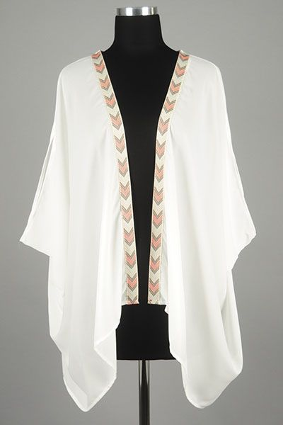 *** New Style *** Chic Lightweight Oversize Kimono with Draped Hem Featuring Arrowhead Embroidered Trim Front.