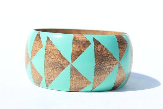 Seafoam Stained Wood Bangle