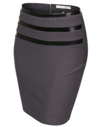 J.TOMSON Womens Jersey Pencil Skirt With 3 Pleather Line Detail