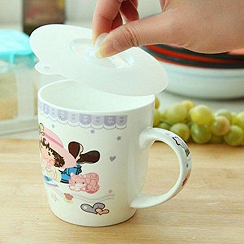 Livdat 6 Pcs Food Grade Silicone Cup Glass Lid Cover Mug Cover Anti Dust Airtight Seal Suction Watertight Leakproo Drinking Tea Hot Drink Food Grade Silicone