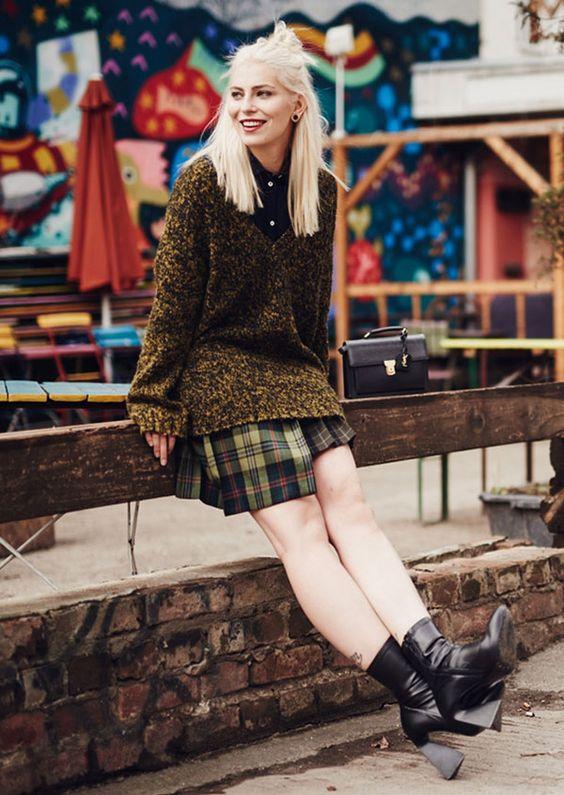 look saia xadrez maxi suéter