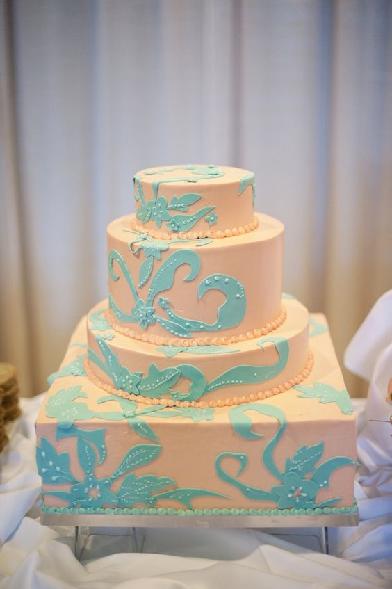 Peach And Turquoise Wedding Cake Peach Turquoise
