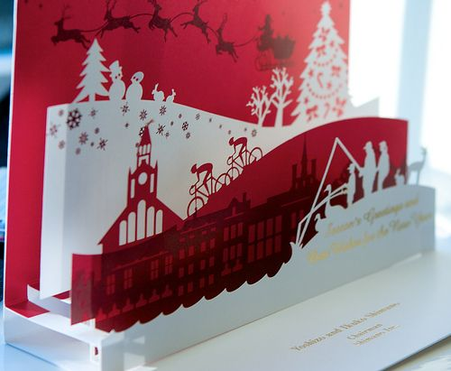 Pop up christmas cards winter scenes and pop up greeting for Kirigami christmas card