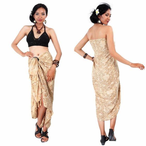 Boho gypsy chic - Black crochet crop top - sarong wrap - Abstract Spiral Circle Design Sarong in Beige - by 1worldsarongs.com