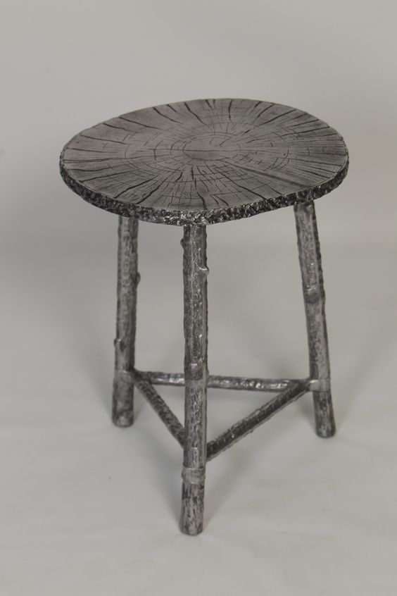 Cast Aluminum Accent Table in Bronze Finish with Patina