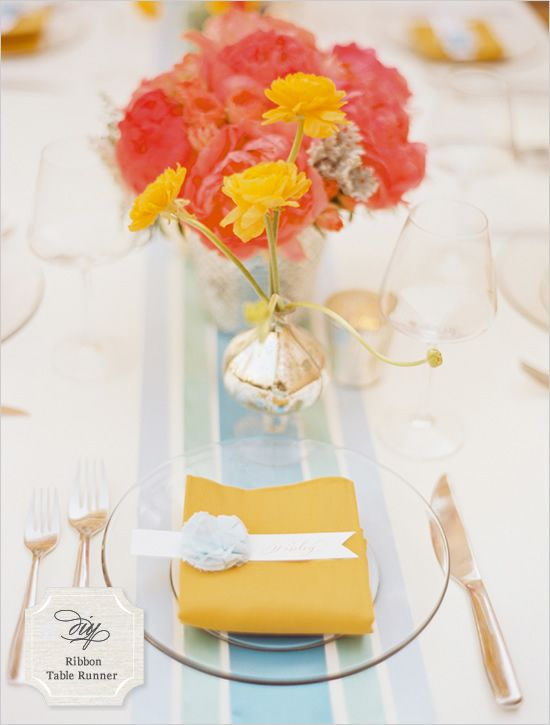 ribbon table runner-love the colors and the idea of a table runner instead of having to rent linens