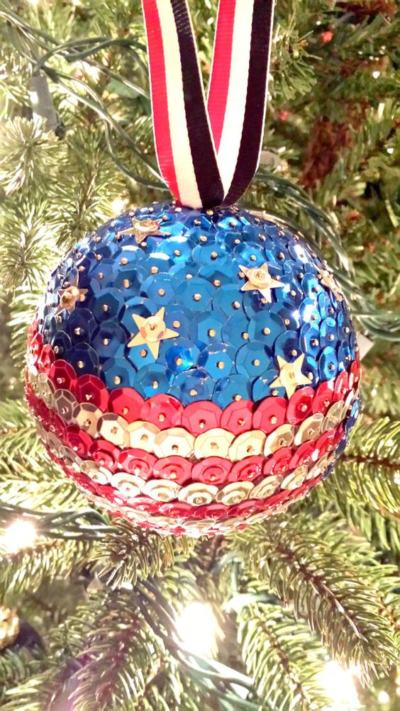 Sequin christmas ornament american flag by