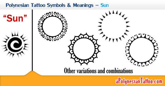 Polynesian Tattoo Symbols & Meanings – Sun.. Polynesian culture the sun often stands for riches, brilliance, grandness and leadership. The sun's periodic rising is regarded as eternity, giving consistent source, which is similar with other cultures. The sun's rising is connected to rebirth and the sunset does not symbolize death, but a passageway to the world beyond.