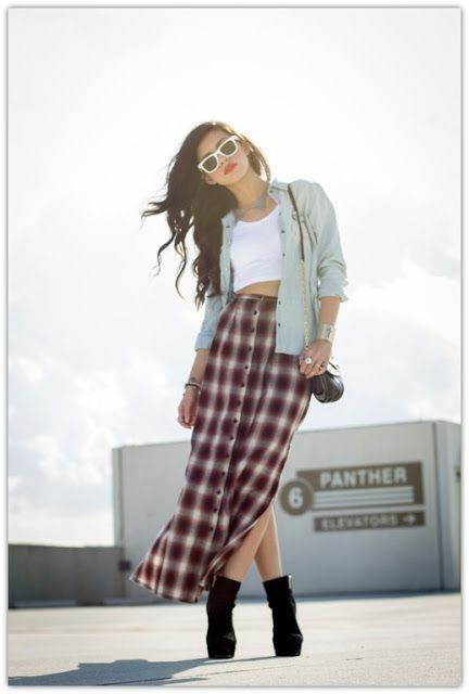 Play up #plaid with print #maxi #skirts. Fall Style