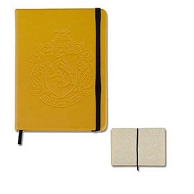 Hufflepuff Journal with parchment-like textured pages and recessed house crest on front cover from The Wizarding World of Harry Potter™  https://www.universalorlando.com/Merchandise/Gift/Hufflepuff-Journal.html