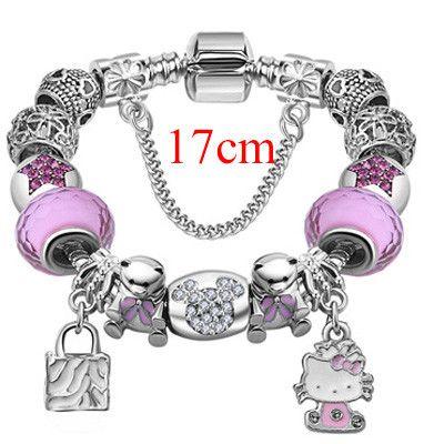 Cute Children Cat Hello Kitty Charms Bracelet For Kids Girls Murano Glass Beads Bracelet For Women Ladies DIY Fashion Jewelry
