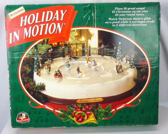 Mr Christmas 1996 Holiday In Motion Animated Musical Skating Rink Complete Box!