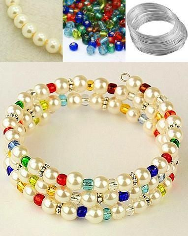 Glass pearl & Crystal memory wire bracelet example. Use glass pearls because real pearls won't string on the thick diameter of the memory wire.                                                                                                                                                     More