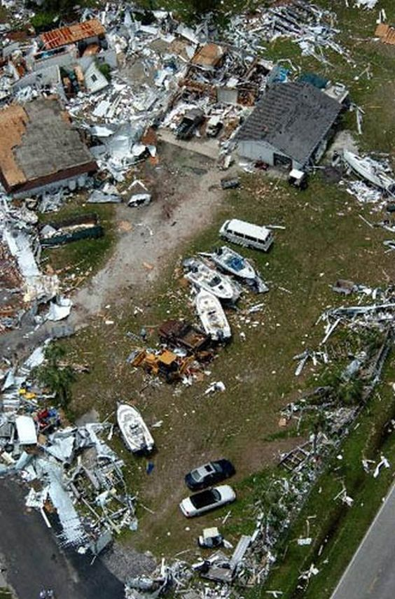 Damage From Hurricane Charley Is Seen At A Mobile Home Park In Punta Gorda