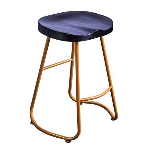 Lgqzwhl Bar Stool Bar Counter Height Bar Chair Wooden Seat And Footstool Gold Metal Base Breakfast Re Restaurant Stools Backless Bar Stools Metal Bar Stools
