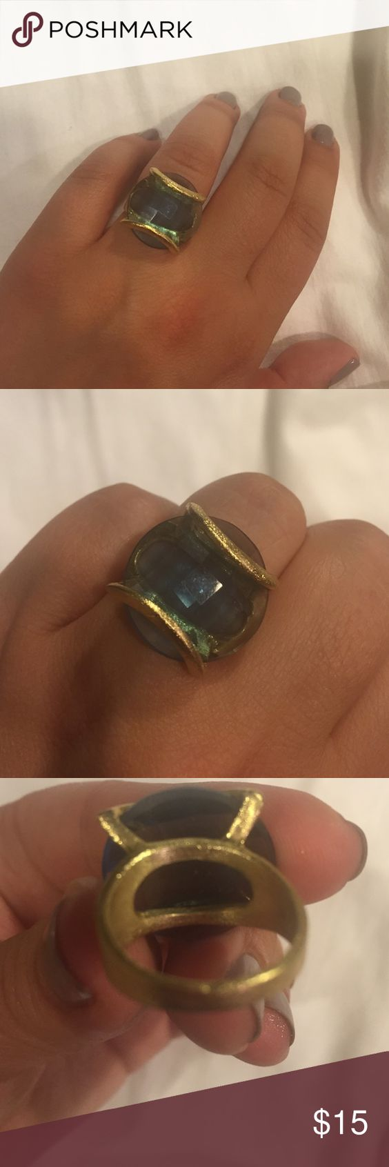 Gold brushed ring Gold brushed ring with blue stone Jewelry Rings