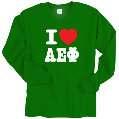 On this Alpha Epsilon Phi printed longsleeve tee, the heart will always be in red. Please choose the color for the Alpha Epsilon Phi letters (the I will be same color as the greek letters).