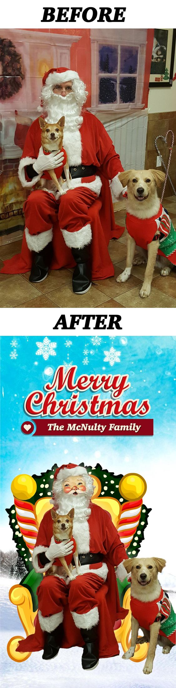 Took our dogs to have their photo taken with Santa. But the guy dressed as Santa and the background looked lifeless. So I took to Photoshop. http://ift.tt/2gDG3jz