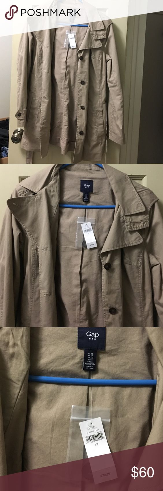 Brand new Gap Trench Coat Brand new! Gap! Perfect trench coat! Size XS, but could fit small too (I have wide shoulders)! NEVER WORN, only tried on! :) feel free to make an offer :) GAP Jackets & Coats
