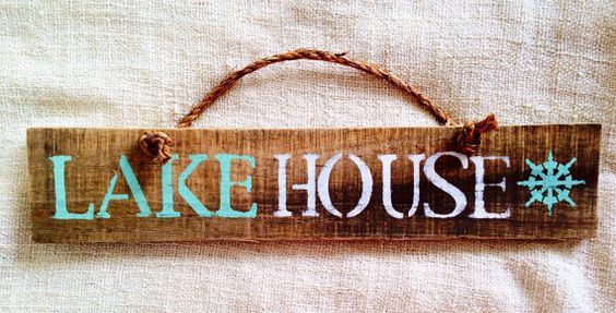 Lake House reclaimed pallet wood sign with rope handle   Sea City. #seacity #beachsigns