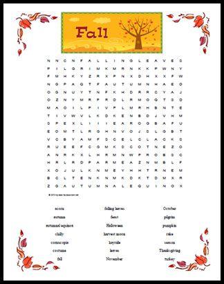 fall themed word search printable | The Homeschool Classroom
