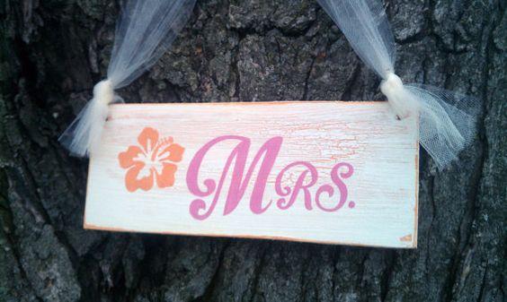 Wedding Signs BEACH Weddings Tropical Wedding MAUI Weddings Mr. and Mrs. Signs Hot Pink Wedding Coral Wedding Orange Wedding
