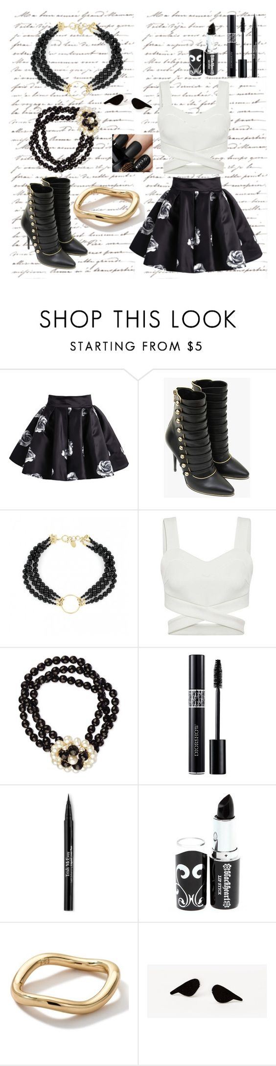 """""""Mimi's Black Rose"""" by ellebelle-2 ❤ liked on Polyvore featuring Once Upon a Time, Balmain, Justine Clenquet, Christian Dior, Trish McEvoy and Ippolita"""