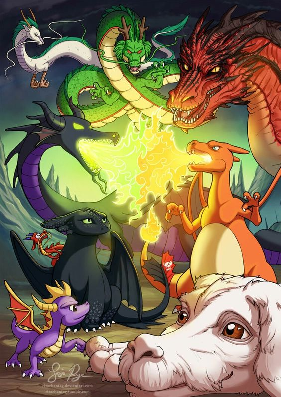 I know every dragon in this picture, I LOVE dragons, and I love this picture of them!!! XD Though technically Charizard needs to be in his Mega X evolved form to be a dragon type. :P