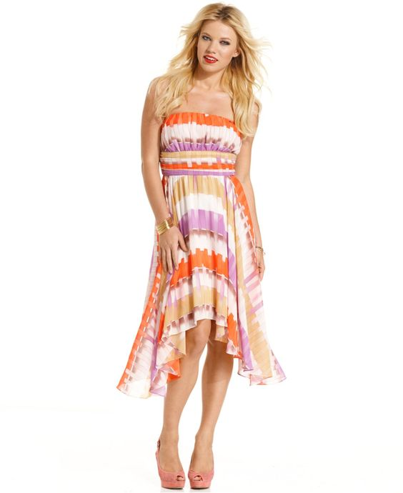 GUESS? Dress, Strapless Isabel Printed Asymmetrical - Womens Dresses - Macy's