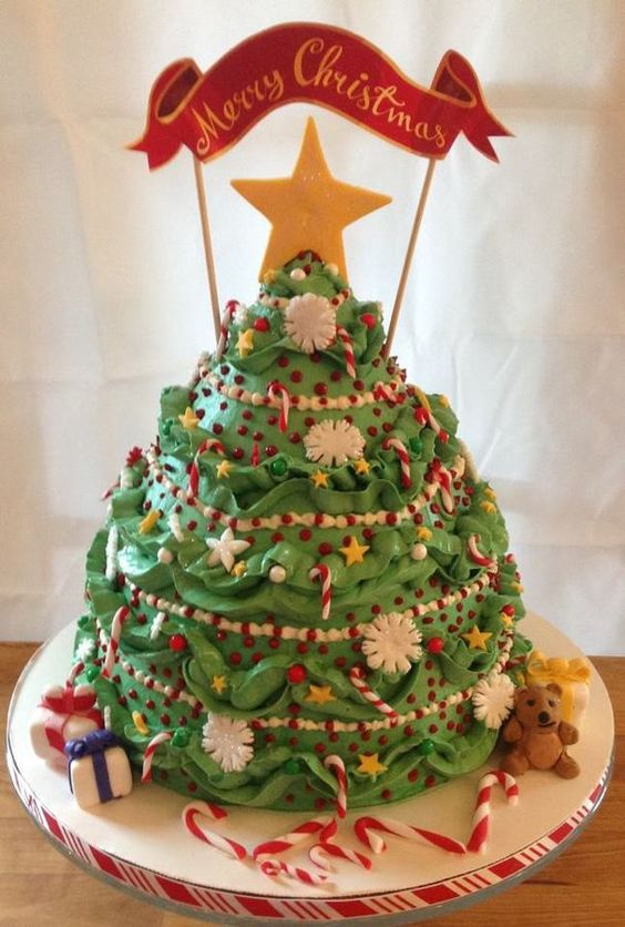 Christmas Cake Decorating With Buttercream : Christmas tree cake, Fondant and Tree cakes on Pinterest