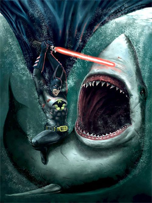 That's no Jedi... that's Batman... fighting a great white... with a light saber. okay...?