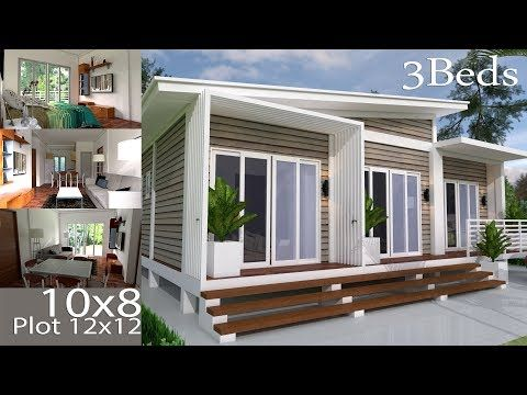 House Plans 10x8m With 3 Bedrooms Simple House Design Outdoor