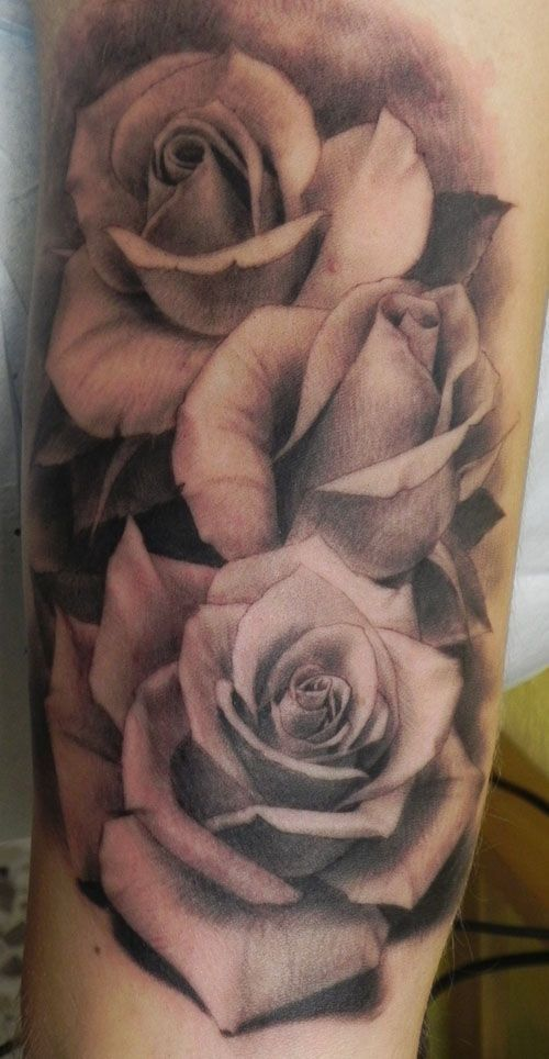 realistic rose tattoo black and white - Google Search