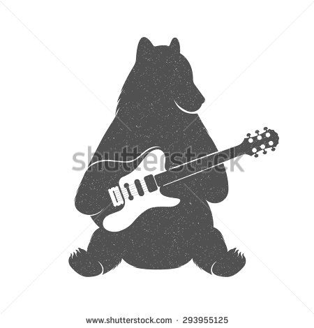 Vintage Illustration bear with guitar - Grunge effect. Funny Bear musician with guitar isolated on white background for posters, T-shirts music clubs and Web music services.