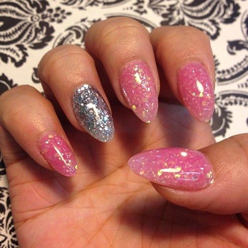 Fake Nail Designs With Glitter Acrylic Nails Pink