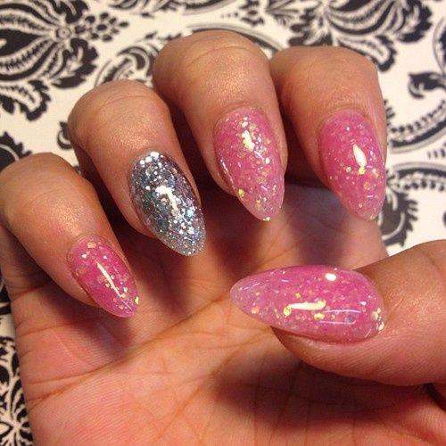 Fake Nail Designs With Glitter Acrylic Nails Pink