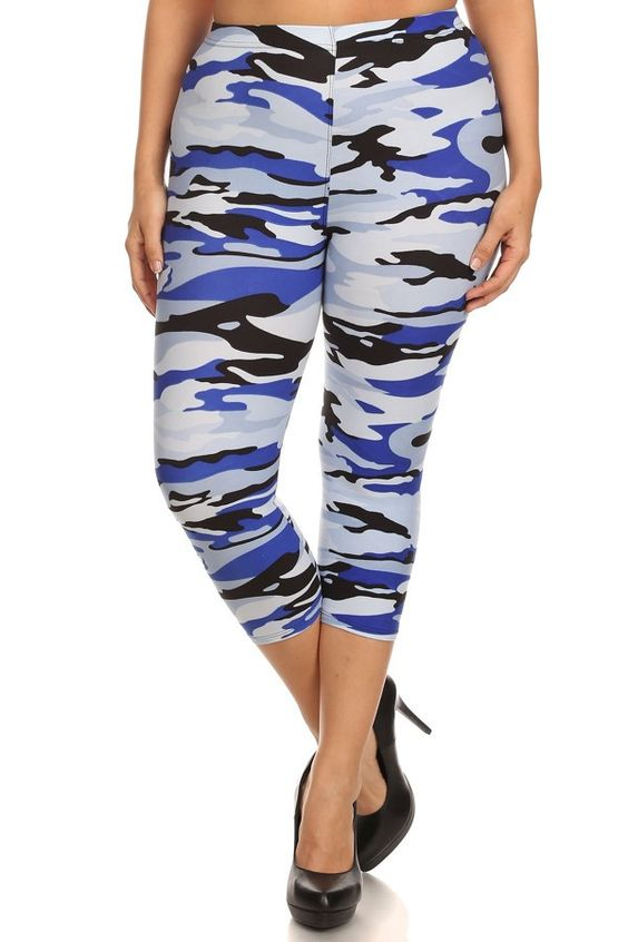 Plus size blue camo capri leggings www.legsmart.ca | Leg Smart ...