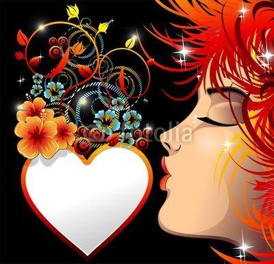 Be my #Valentine #Love #Heart-#Cuore #Ornamentale con #Bacio-#Vector © bluedarkat   http://it.fotolia.com/id/48490237#