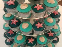 Image result for beach wedding cakes with cupcakes