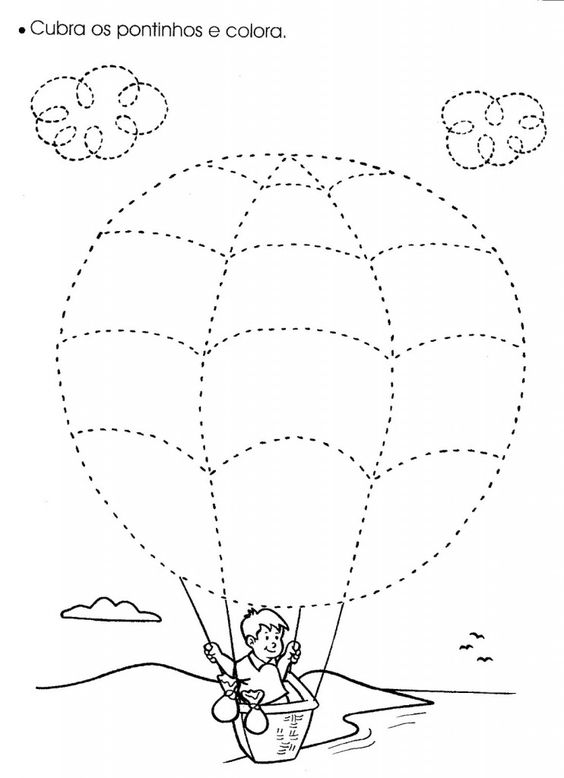 hot air balloon trace worksheet | Crafts and Worksheets for ...