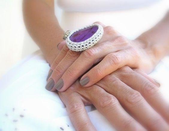 Crochet Agate Ring, Purple, Adjustable Ring, Silver Yarn, Glass Beads ...