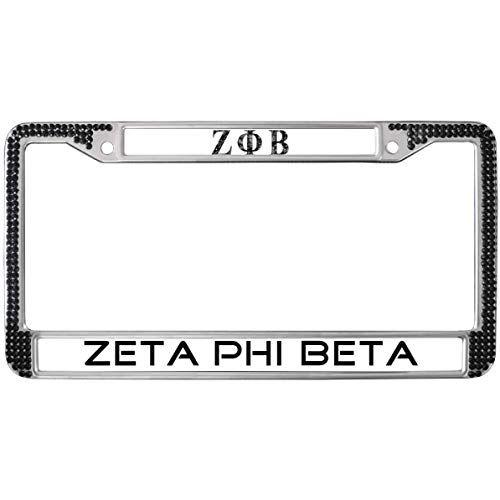 GND Zeta Phi Beta License Plate Frame Bling Pink,Zeta Phi Beta License Plate Frame for Women Bling Stainless Steel Chrome License Plate Frame for US Canada Cars