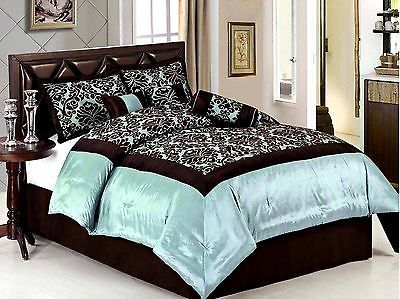 7 piece queen size comforter set royal garden light blue. Black Bedroom Furniture Sets. Home Design Ideas