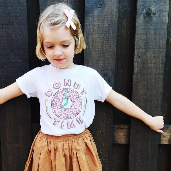 """""""Tomorrow morning I will wear this shirt and jump on daddy while he is asleep! There is no way he can tell me he won't take me for donuts!""""  (shirt by @schoolnightkids / hair bow by @free_babes) by allieroyall"""