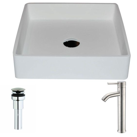ANZZI Passage Series 1-Piece Man Made Stone Vessel Sink in Matte White with Fann Faucet in Brushed Nickel