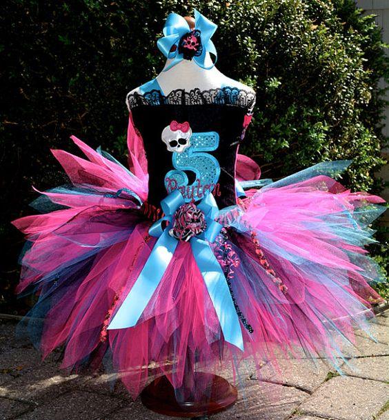 Monster High Tutu Dress Pageant Style Corset Tutu by PoshPinkTutus