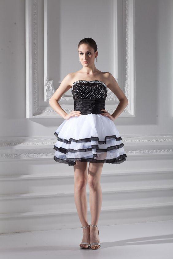 Weiß Schwarz Perlen Organza Kurzes Cocktailkleid $343.99 Cocktailkleider Kurz